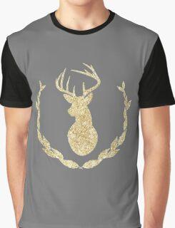 Glitter Deer Head Silhouette Graphic T-Shirt