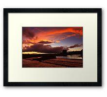 Late September Evening Tones and Light, Broken Scar Weir, River Tees Framed Print