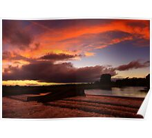 Late September Evening Tones and Light, Broken Scar Weir, River Tees Poster