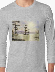 Egrets Over Wakulla River Florida Long Sleeve T-Shirt