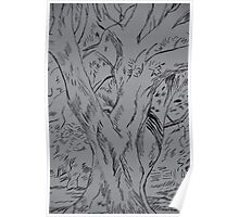 Fineliner pen drawing of a tree Poster