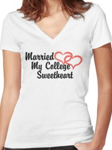 Married My College Sweetheart Women's Fitted V-Neck T-Shirt
