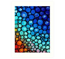 Abstract 2 - Colorful Blue Mosaic Abstract Art Print Art Print