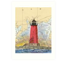 Manistique Lighthouse MI Nautical Chart Cathy Peek Art Print