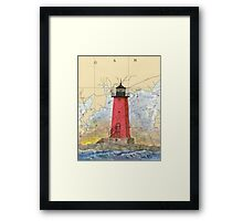 Manistique Lighthouse MI Nautical Chart Cathy Peek Framed Print