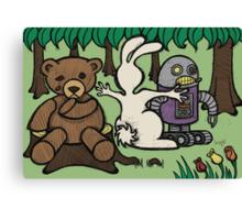 Teddy Bear And Bunny - An Eye For An Eye Canvas Print