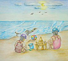 children on the beach by thuraya o