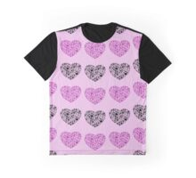Dog Paws, Trails, Paw-prints, Heart - Black Purple Graphic T-Shirt