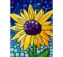 Basking In The Glory - Yellow Sunflower Blue Sky Art Print Photographic Print