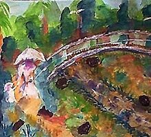 The Japanese  Bridge, my version, watercolor by Anna  Lewis