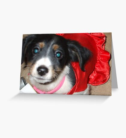Odessa With A Red Dress On Greeting Card