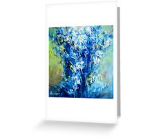 Abstract Blue Flowers Greeting Card