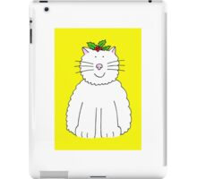 Fluffy white cat with holly on her head. iPad Case/Skin