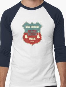 Vintage New Orleans Blues  Men's Baseball ¾ T-Shirt