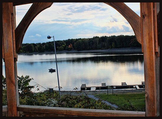 View through the gazebo window. by Sandra Lee Woods