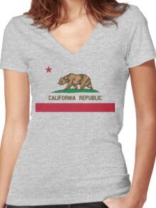 California Flag Women's Fitted V-Neck T-Shirt