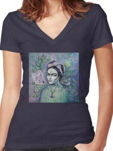 Magical Girl Frida Women's Fitted V-Neck T-Shirt
