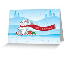 bunny skiing Greeting Card