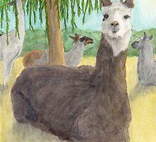 Llamas Lounging Farm Animal Pets Art Cathy Peek by Cathy Peek