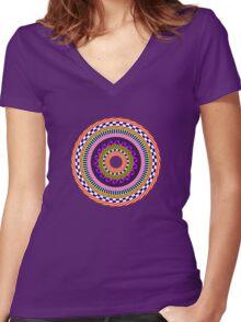 Funky Mandala Women's Fitted V-Neck T-Shirt