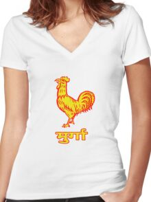 Golden Rooster Women's Fitted V-Neck T-Shirt