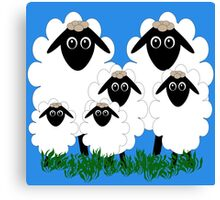 Flock of cartoon lambs Canvas Print
