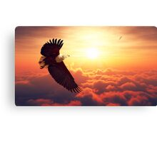 Fish Eagle flying above clouds Canvas Print