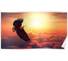 Fish Eagle flying above clouds Poster