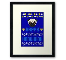 Pugly Hanukkah Ugly Christmas Sweater Style Framed Print