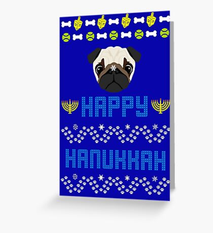 Pugly Hanukkah Ugly Christmas Sweater Style Greeting Card