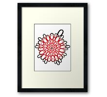 flowerpower red number flower design Framed Print