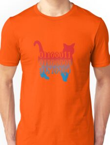 cat silhouette image vector with binary code text Unisex T-Shirt
