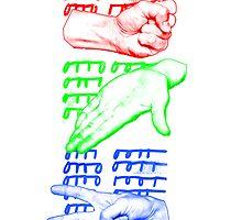 rock paper scissors game design by Veera Pfaffli