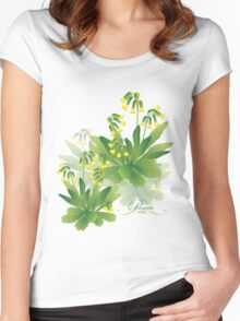 meadow flower yellow primrose design Women's Fitted Scoop T-Shirt