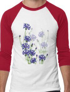 blue meadow cornflower design Men's Baseball ¾ T-Shirt