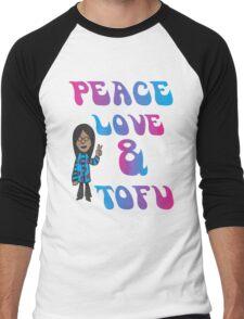 Peace Love and Tofu Men's Baseball ¾ T-Shirt