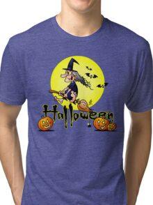 Halloween, witch on a broom, bats and pumpkins Tri-blend T-Shirt