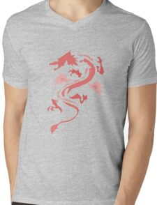Fire Breathing Dragon - pink Mens V-Neck T-Shirt