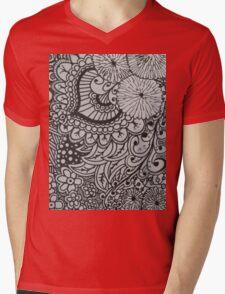 Floral Doodle Print Mens V-Neck T-Shirt