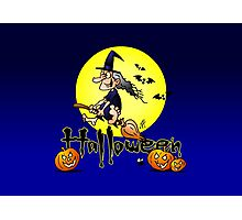 Halloween, witch on a broom, bats and pumpkins Photographic Print
