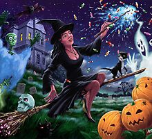Happy Halloween Witch with graveyard friends by martyee