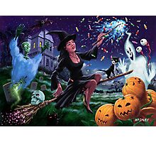 Happy Halloween Witch with graveyard friends Photographic Print