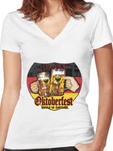 Oktoberfest Prost Women's Fitted V-Neck T-Shirt