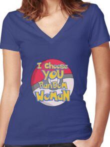 Random Woman Pokeball Women's Fitted V-Neck T-Shirt