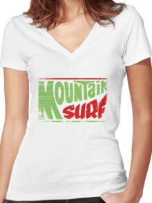 Mountain Surf Logo Women's Fitted V-Neck T-Shirt