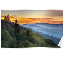 Great Smoky Mountains National Park - Morning Haze at Oconaluftee Poster