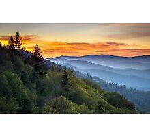 Great Smoky Mountains National Park - Morning Haze at Oconaluftee Photographic Print