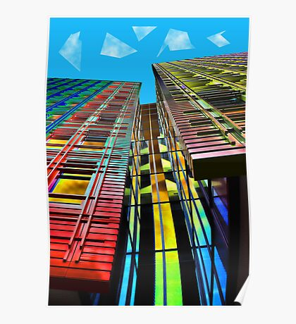 Colors in the City (with clouds) Poster