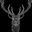 White Christmas Modern Geometric Deer  by artonwear