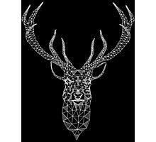 White Christmas Modern Geometric Deer  Photographic Print